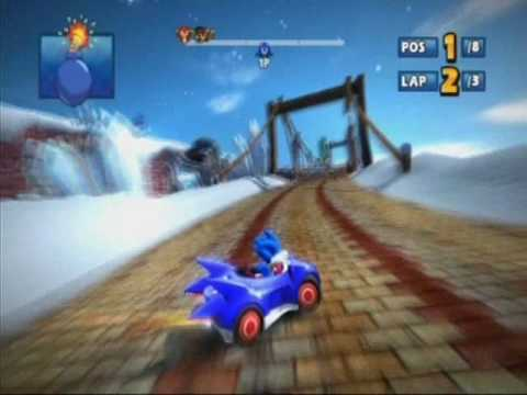 Sonic & Sega All-Stars Racing (PS3 Demo) - Rampart Road (Blizzard Castle) - Sonic - Expert - 1st