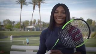 Serena Williams shows the Wilson Blade SW104