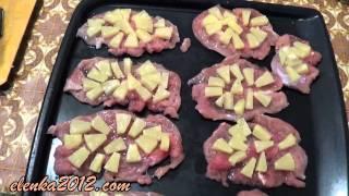 Отбивные c ананасами в духовке с сыром
