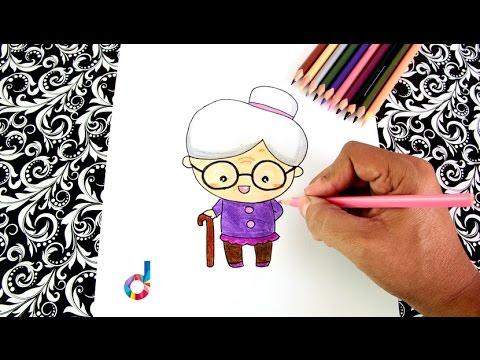 Cmo dibujar una Abuelita ancianita paso a paso  How to
