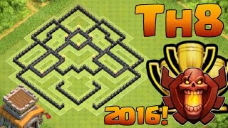 CLASH OF CLANS - TH8 CHAMPION LEAGUE TROPHY BASE - TOWN HALL 8 (TH8) TROPHY PUSHING BASE 2016!