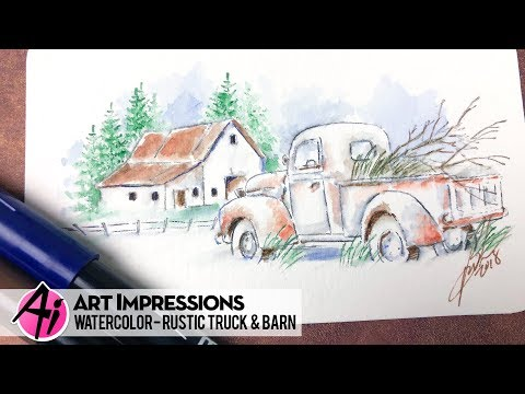 Ai Watercolor - Rustic Truck & Barn