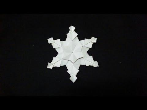 簡単 折り紙:雪 結晶 折り紙-youtube.com