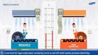 Инверторные кондиционеры Samsung с технологией Smart Inverter экономят электроэнергию(Инверторная технология от Samsung - Smart Inverter поддерживает постоянную работу кондиционера, таким образом, расхо..., 2013-12-10T13:12:22.000Z)