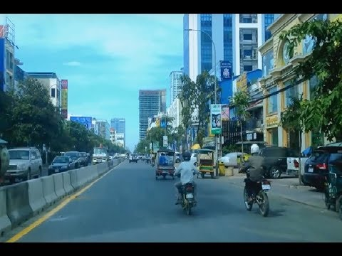 Travel in Phnom Penh Capital, On Preah Monivong Boulevard in the Northern Part of The City, Cambodia