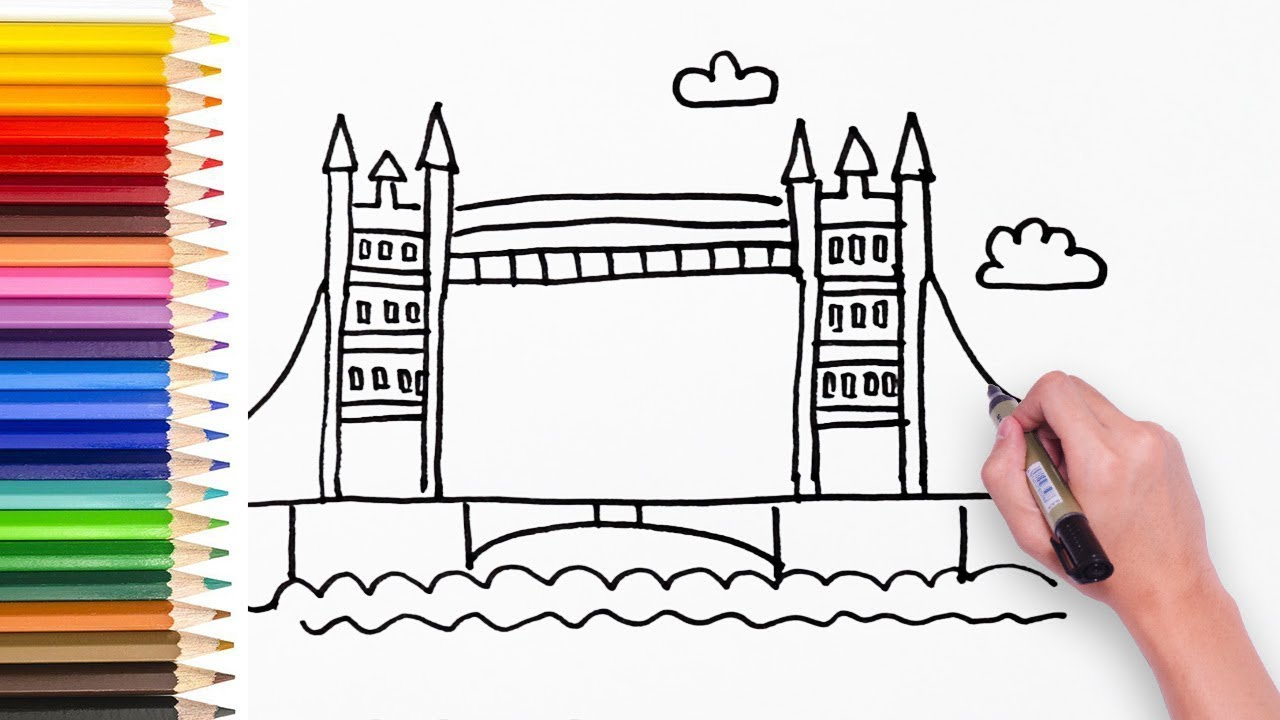 Learn How To Draw London Bridge Drawing Video For Kids Kids Learn