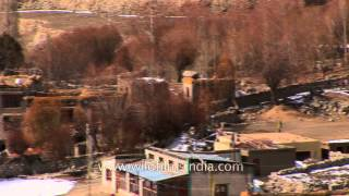 Ladakhi village hemmed in by barren mountains - India