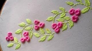 Hand Embroidery : brazilian stitch border design.