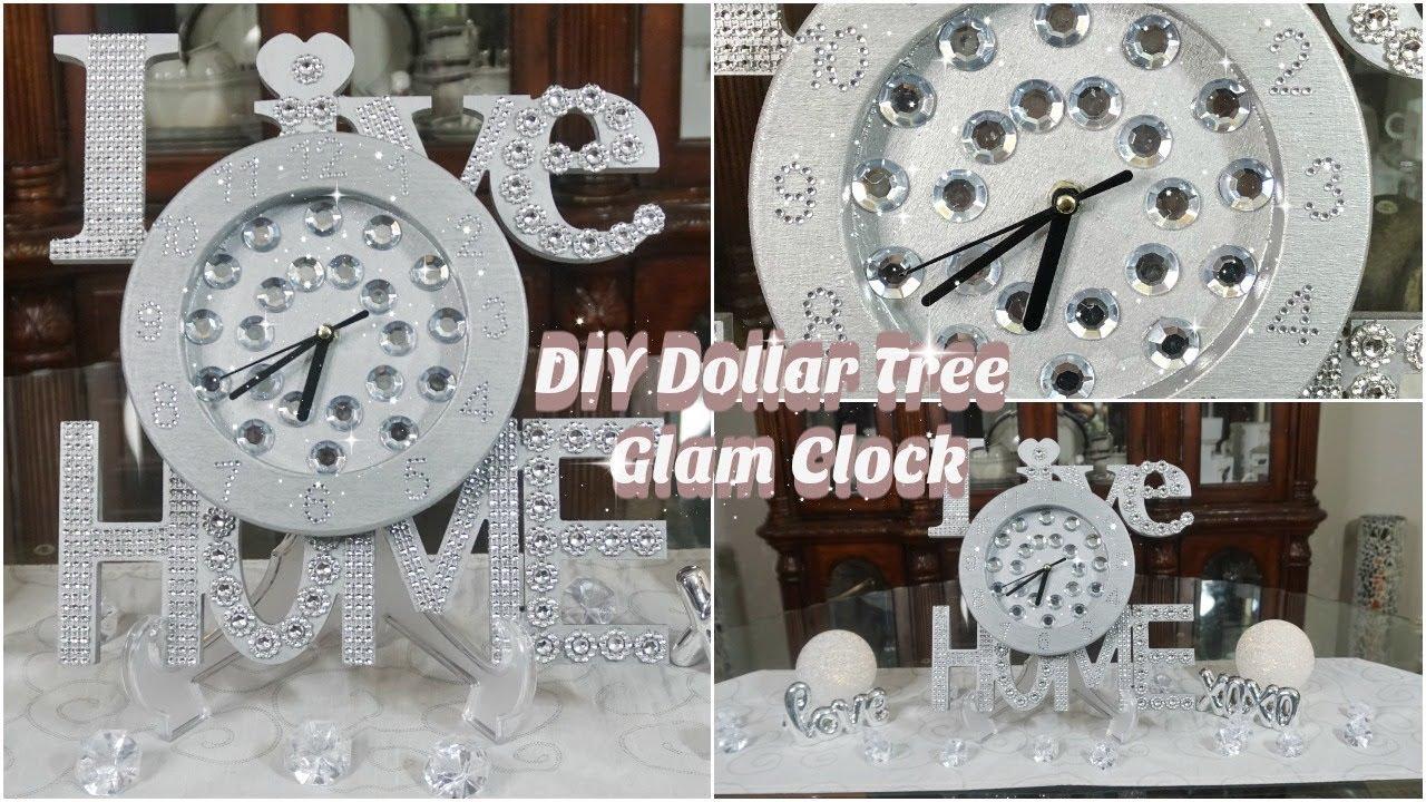 Home Wall Clock Ideas: DIY DOLLAE TREE GLAM WALL CLOCK DECOR