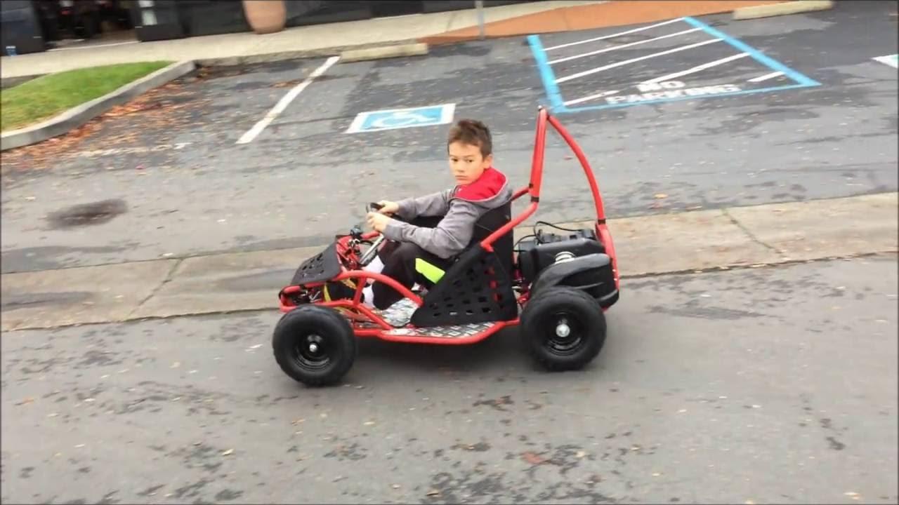 11 year old testing a Tao Tao Electric Go Kart EK80