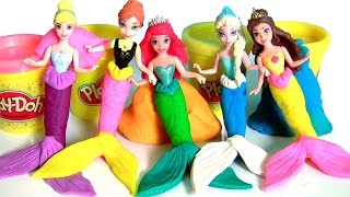 Play Doh Mermaids Princess Anna Elsa Ariel Cinderella Belle Makeover Magiclip Dolls Disney Frozen