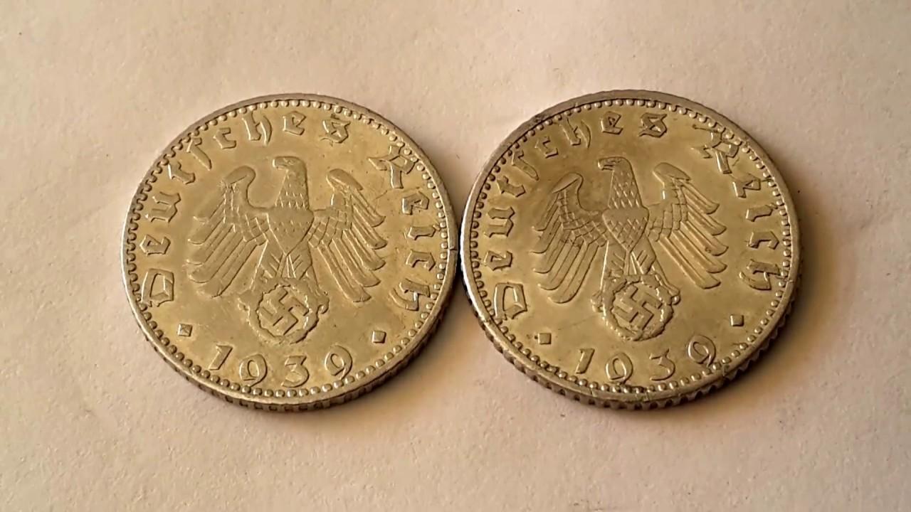 Low Mintage Scarce Nazi Germany 1939 50 Reichspfennig Coins Youtube