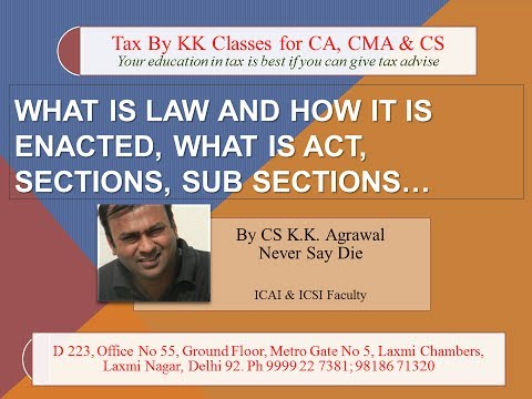 What is law and how it is enacted, what is act, sections, sub sections...Law classes