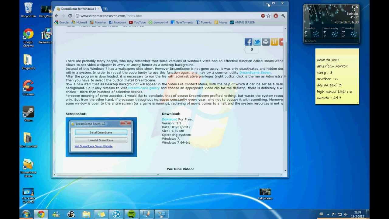 Tutorial : how to make a moving live wallpaper on windows 7 - YouTube