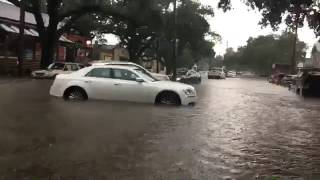 Street flooding along Banks Street in New Orleans