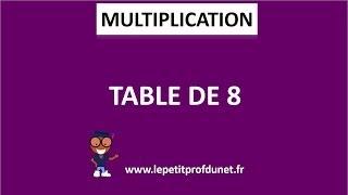 Calcul mental : Multiplication | Table de 8