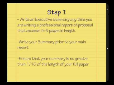 Learn How to write an Executive Summary tutorial YouTube – An Executive Summary