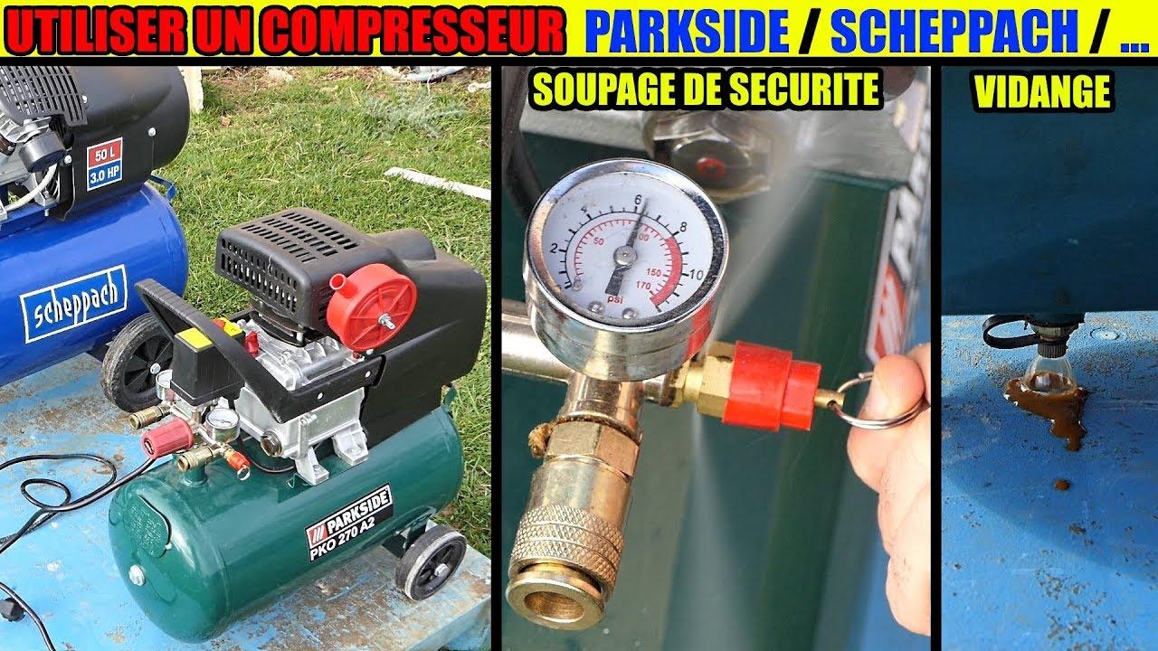 utiliser un compresseur parkside pko 270 500 scheppach lidl how to use an air compressor youtube. Black Bedroom Furniture Sets. Home Design Ideas