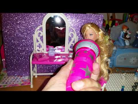 High School musical Sharpay doll sitting by a pink doll vanity FABULOUS