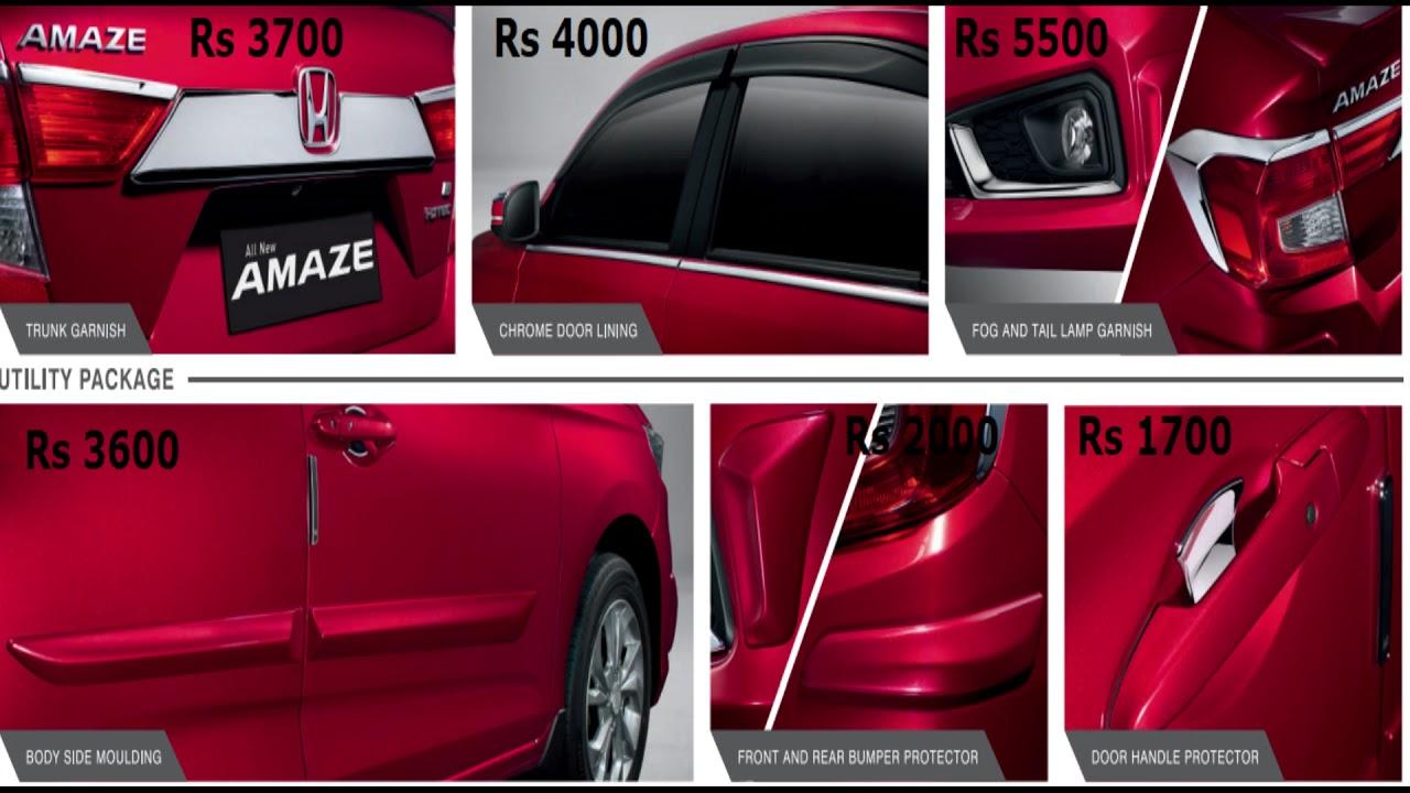 Honda Amaze 2018 Accessories Range With Prices In India Youtube