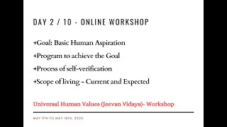 Day2 - Universal Human Values / Jeevan Vidya Online Workshop - Suman Yelati