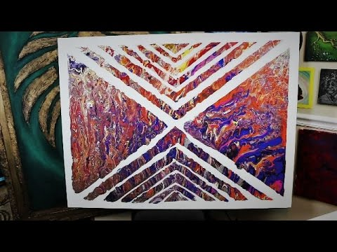 Add Pattern To Fluid Painting With Masking Tape Abstract