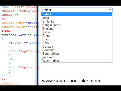 Populating dropdown box from array and foreach loop in PHP .