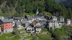 4K Fusio Val Maggia, Lavizzara Ticino SWITZERLAND アルプス山脈 aerialview