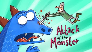 Attack Of The Monster | Cartoon Box 221 | by FRAME ORDER | Funny Medieval Cartoon | Godzilla Parody