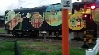 平成筑豊鉄道、糒駅前踏み切り普通列車相互通過、