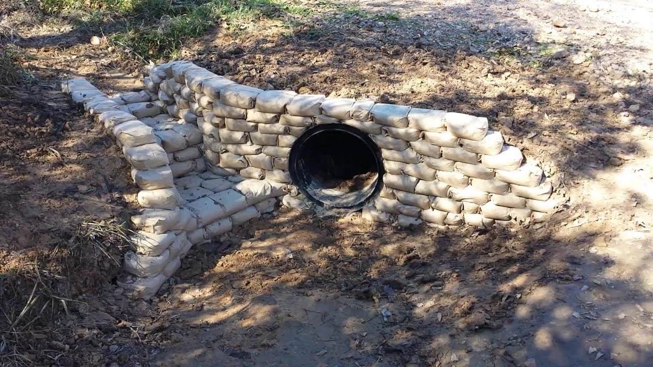 Culvert Bricking With Cement Bags Youtube