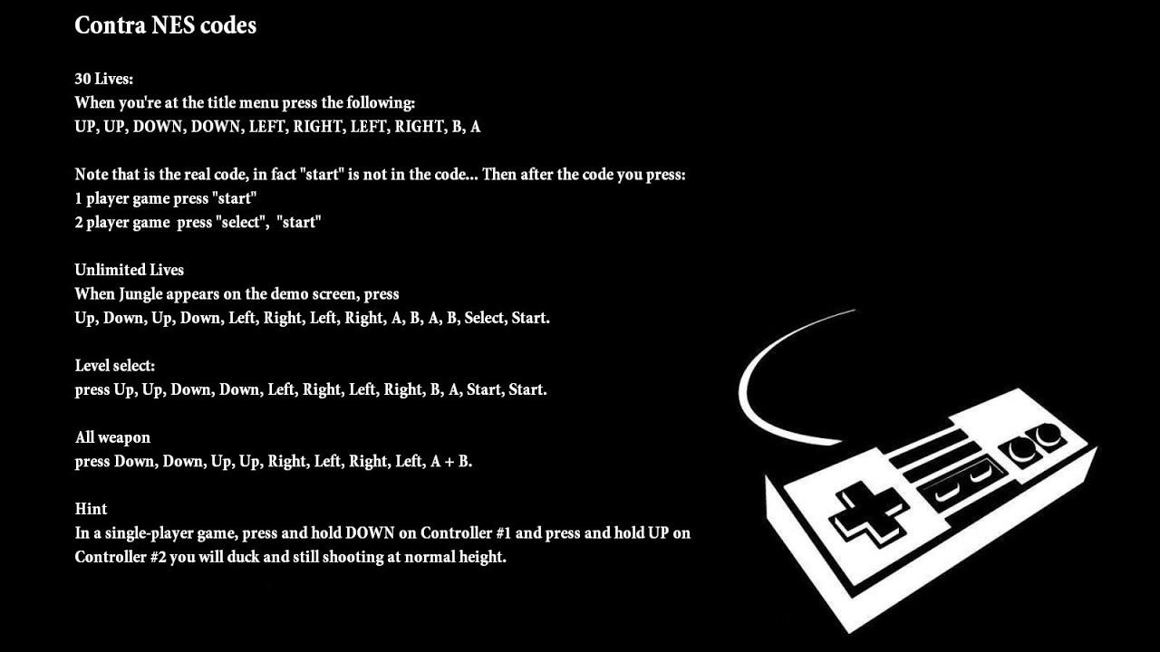 Contra <b>cheats</b>, <b>codes</b>, hints for <b>Nintendo NES</b> - YouTube