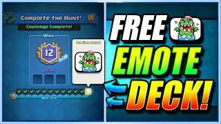 BEST 12 WIN FREE EMOTE DECK!! - FIRST TRY!! DRAGON HUNT!! - Clash Royale