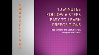 Fast Learning Steps to Prepositions in ||10min||
