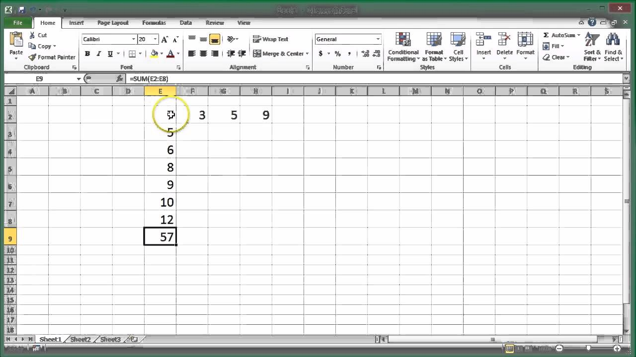 How to add up a column or row in Microsoft Excel and other spreadheets