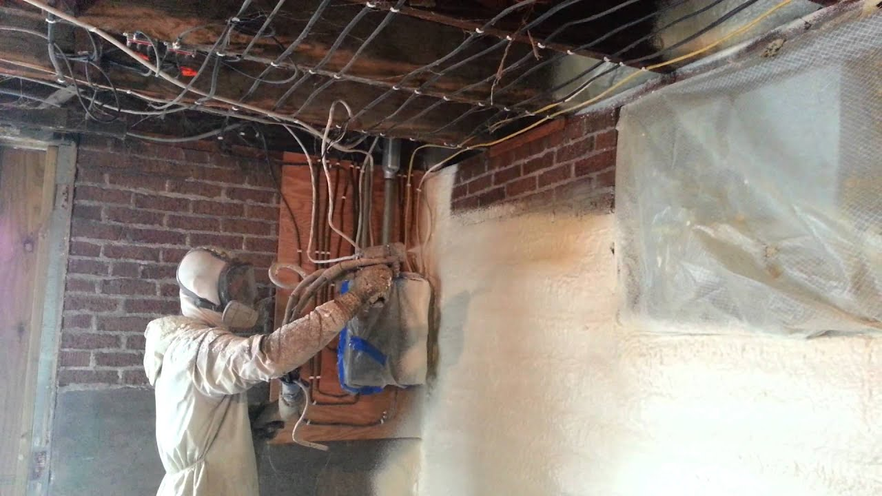 Spray Foam Insulation On Basement Wall And Sill   YouTube