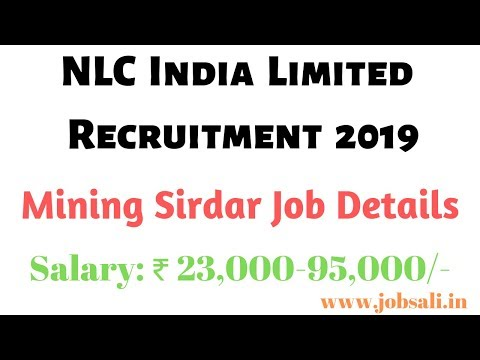NLC Mining Sirdar Jobs Notification Details: 12 Vacancies