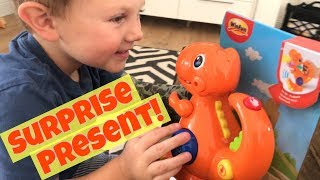 TODDLER OPENS & PLAYS WITH WINFUN RECORDING & VOICE CHANGING DINOSAUR TOY REVIEW - SURPRISE GIFT!