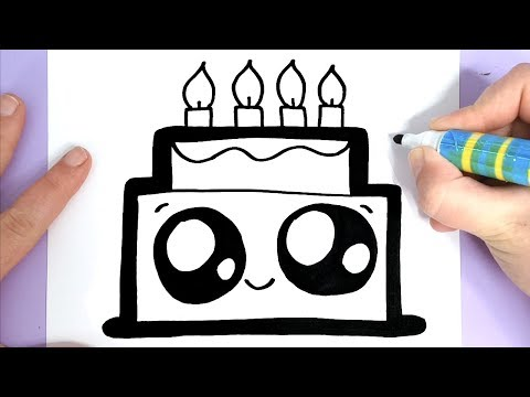 HOW TO DRAW A CUTE BIRTHDAY CAKE EASY - HAPPY DRAWINGS