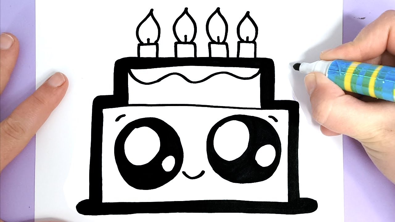 How To Draw A Cute Birthday Cake Easy Happy Drawings Youtube
