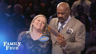 Lauren's billion dollar idea! | Family Feud