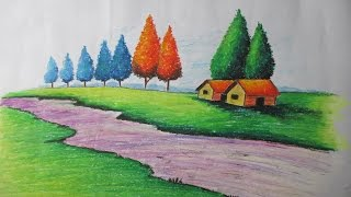 How to Draw a Village landscape with Oil Pastel | Episode-15