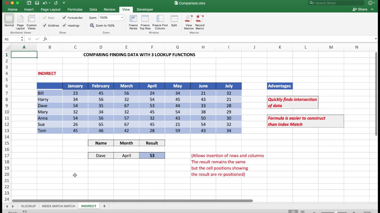 Intermediate to Advanced Excel  Comparing the 3 most used lookup functions