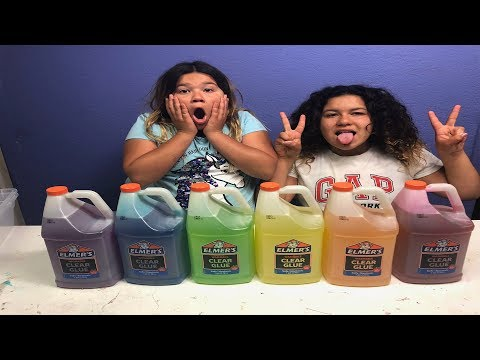 GIANT 3 COLORS OF GLUE SLIME CHALLENGE
