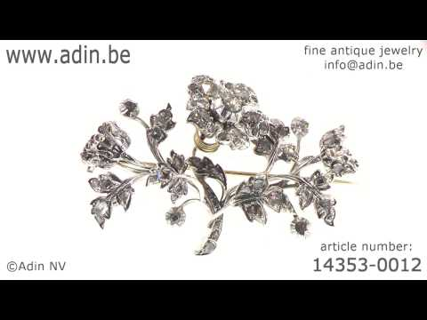 Antique 18th Century moving trembleuse flower brooch rose cut diamonds. (Adin reference: 14353-0012)