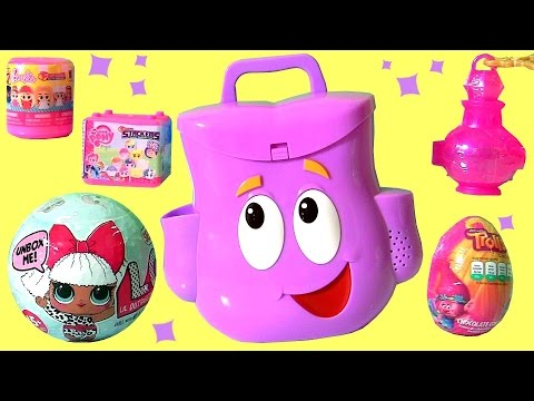 f9a2337b466 Dora Explorer's Backpack Surprise from Nickelodeon Dora the Explorer DOLLS  Fashems Stackems Toys