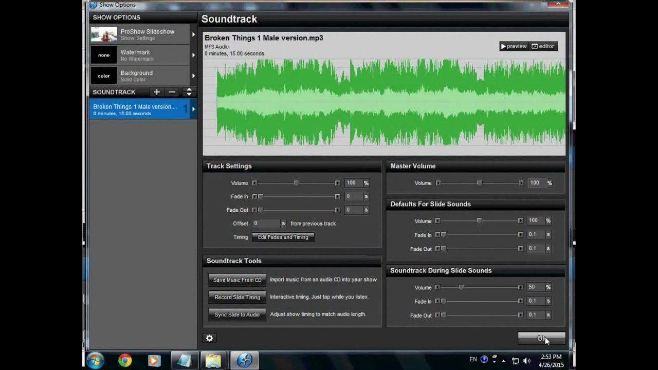 Hướng dẫn chỉnh sửa âm thanh trong Proshow Producer