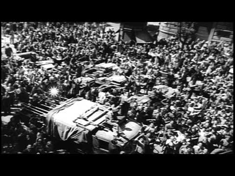 Civilians cheer as the Allied troops enter Rome Italy after liberating it from th...HD Stock Footage