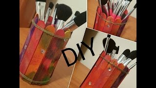 Popsicle Stick Craft Idea DIY Makeup brush/Pencil Holder