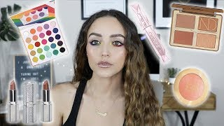 TESTING NEW MAKEUP LAUNCHES!!! GRWM (rainbow eyes)